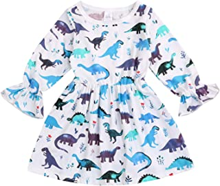 YOUNGER TREE Kids Toddler Baby Girls Fall Dresses Outfits Ruffle Dinosaur Princess Party Tutu Ruffle Dress Winter Clothes