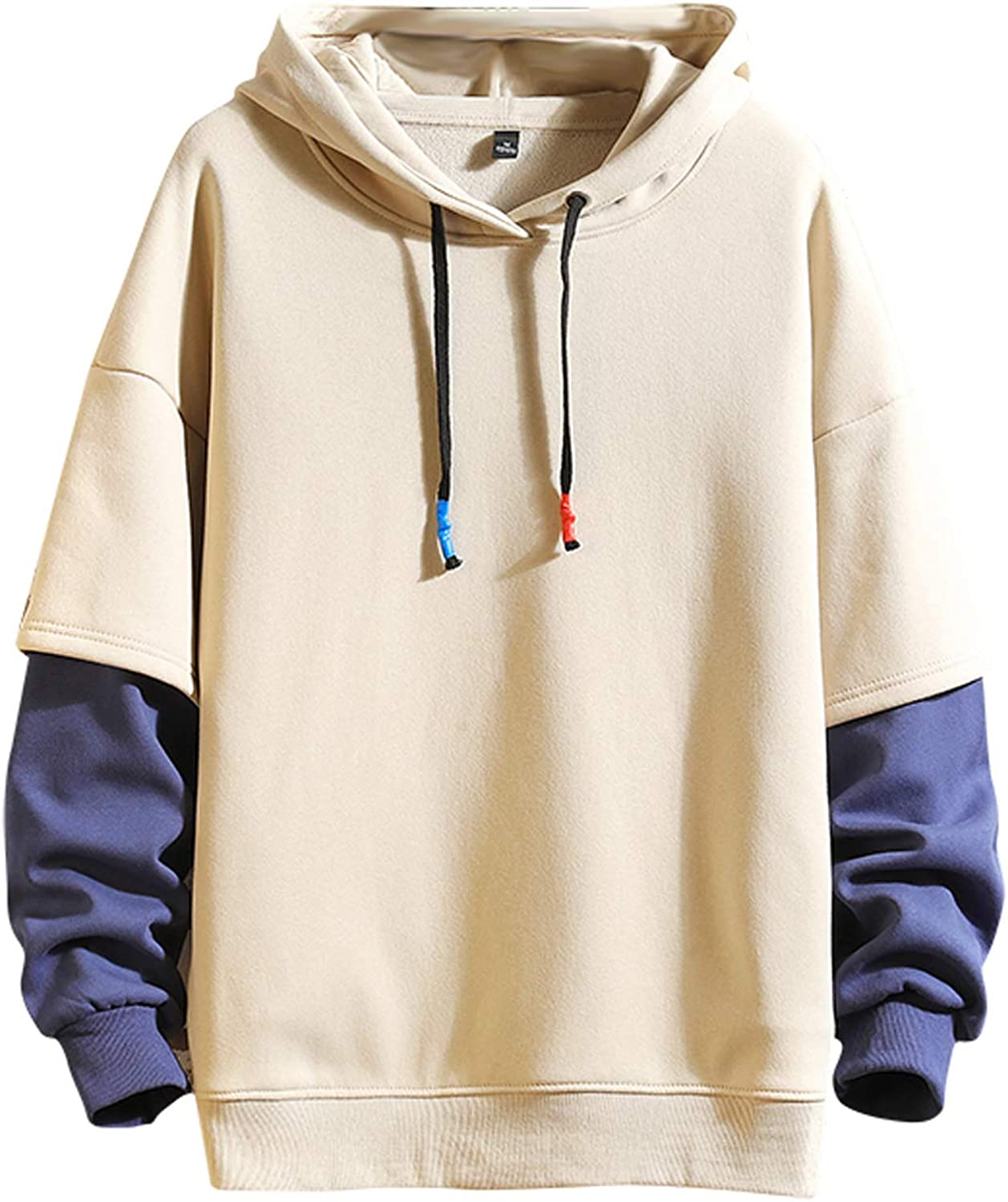 Fashion Selling rankings Hoodies Men's Color Block Hooded O-Neck Pullover Cheap mail order sales Sweatsh