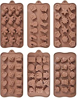 Silicone Chocolate Candy Molds, 6 Pack Different Shapes and Patterns Baking Mold for Cake, Brownie Topper, Hard & Soft Can...