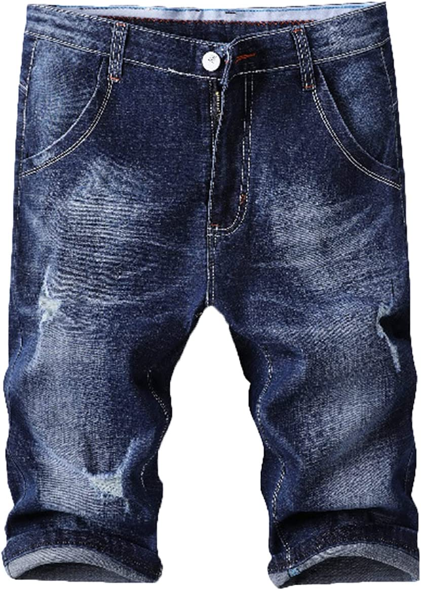 Men's Ripped Straight Jean Shorts Summer Casual Slim Fit Hole Denim Shorts Classic Fashion Distressed Short Jeans (Blue,29)