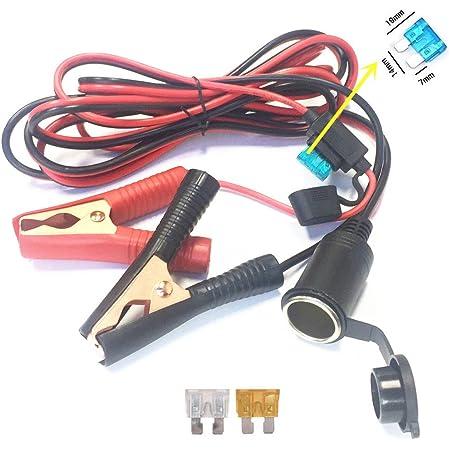 Qiorange Kfz Batterieklemme Clip On 3m Zigarettenanzünder Kabel Steckdose Adapter 12v 24v Buchse Mit Sicherungsschutz Für Tragbar Kfz Batterie Wechselrichter Kompressor Type A Auto