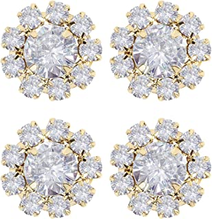 Wholesale 24PCS 16MM Gold Plated Metal Clear Rhinestone Glass Buttons Supplies Bulk for Craft(Flat)