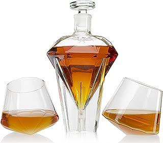 The Wine Savant Diamond Decanter Set Glass Holding Base With 2 Diamond Glasses Liquor, Scotch, Rum, Bourbon, Vodka, Tequila Decanter