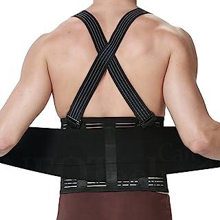 Faja para la espalda con tirantes, apoyo lumbar, cinturón de culturismo/halterofilia - Marca Neotech Care (Talla S)