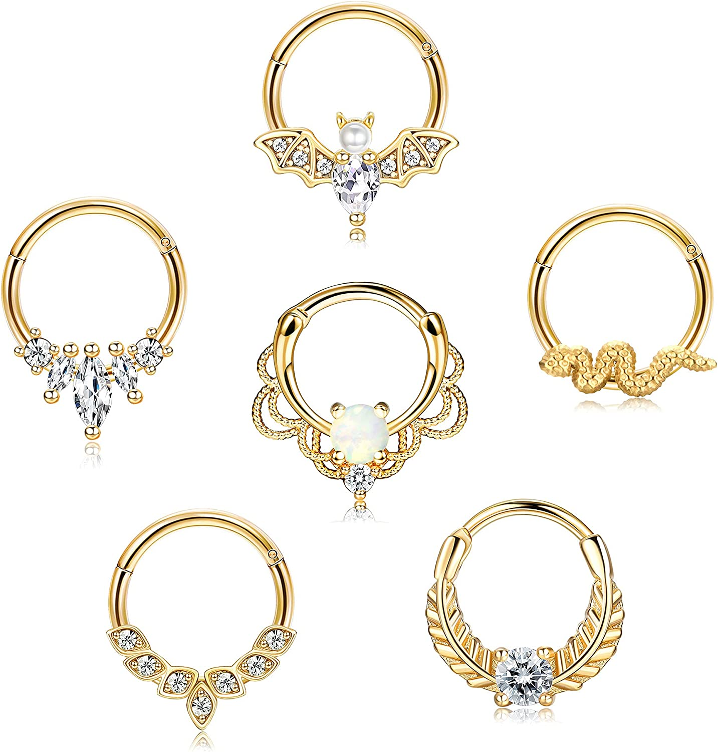 JOERICA 6Pcs 16G Septum Rings Stainless Steel CZ Opal Daith Helix Tragus Piercing Jewelry Cartilage Earrings Hoop Nose Ring Bat Hinged Clicker Septum Jewelry 8MM 10MM