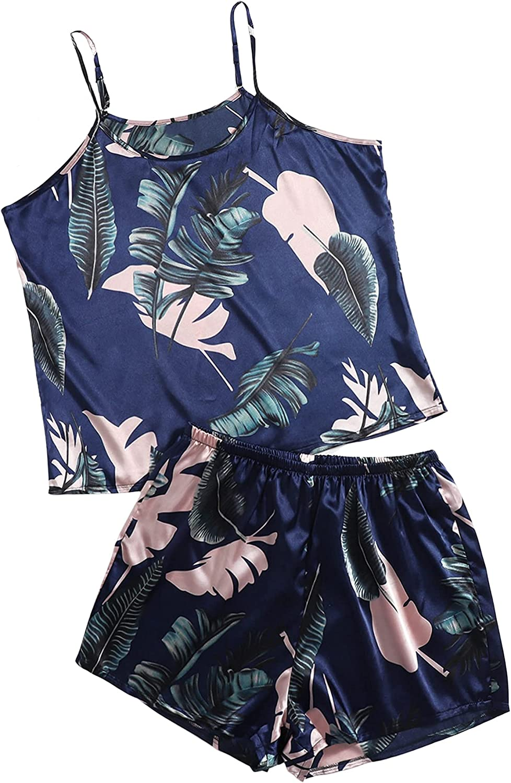 SheIn Women's Plus Satin Nightwear Plants Print Cami Top Shorts Pajama Set