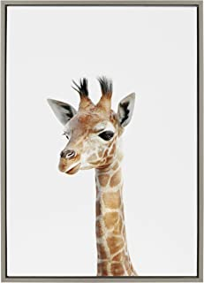 Kate and Laurel Sylvie Baby Giraffe Animal Print Portrait Framed Canvas Wall Art by Amy Peterson, 23x33 Gray