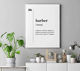 Dwi24isty Canvas Print Barber Definition Gift for Barber Hairdresser Gift Stylist Coworker Barbershop Wall Art Gift Barber Canvas Art Professions Art