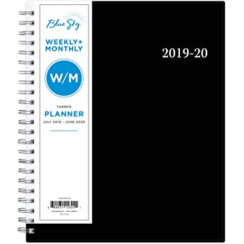 """Blue Sky 2019-2020 Academic Year Weekly & Monthly Planner, Flexible Cover, Twin-Wire Binding, 7"""" x 9"""", Firefall"""