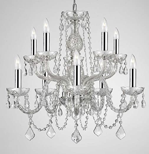 ✅Empress Crystal ™ Chandelier Lighting Crystal Chandeliers With Chrome Sleeves H25″ X W24″ 10 LIGHTS! #Lighting & Ceiling Fans