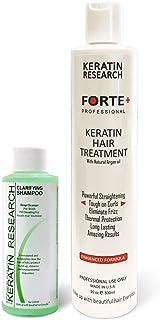 Keratin Forte Keratin Brazilian Keratin Hair Blowout Treatment Extra Strength 300ml with Clarifying Shampoo Enhanced Formula for Curly Hair By Keratin Research Queratina Keratina Brasilera Forte