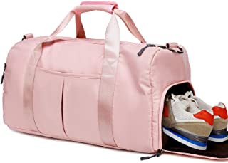 Gym Duffel Travel Bag for Women Ladies Sport Tote Bag with Shoe Compartment, Wet Pocket (Pink)