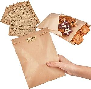 Ocmoiy 200 Pcs Kraft Paper Bakery Treat Bags and 200 Pcs Thank You Srickers, 8 x 6 x 1