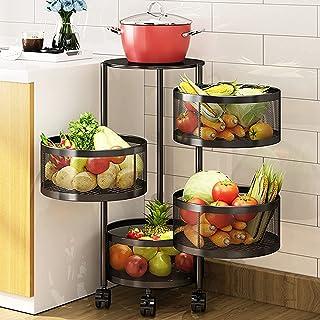 4 Niveaux de rangement Organisateur de panier avec roues, panier de fruits et légumes rotatifs multifonctionnels, porte-ut...