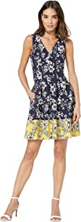 Women's Printed Scuba Crepe Double V Fit and Flare Dress