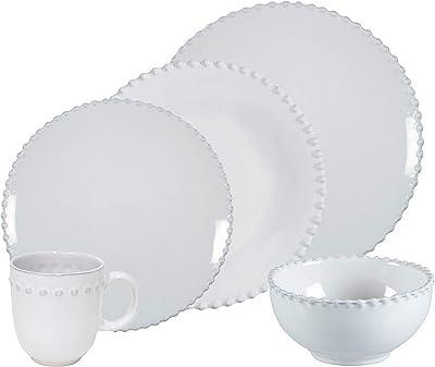 Costa Nova Pearl Collection Stoneware Ceramic 5-Piece Dinnerware Set (Service for 1), White