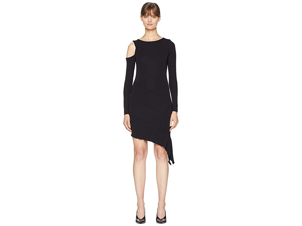 Nicole Miller Exposed Shoulder Dress (Black) Women