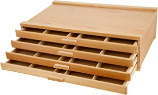 U.S. Art Supply 4 Drawer Wood Artist Supply Storage Box - Pastels, Pencils, Pens, Markers, Brushes