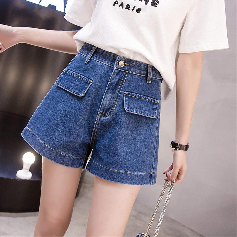 Short Jeans High Waist A-line Shorts Summer Slim Denim Shorts Women (Color : Blue, Size : Small)