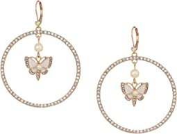 Betsey Johnson Rose Gold and White Butterfly Gypsy Hoop Earrings