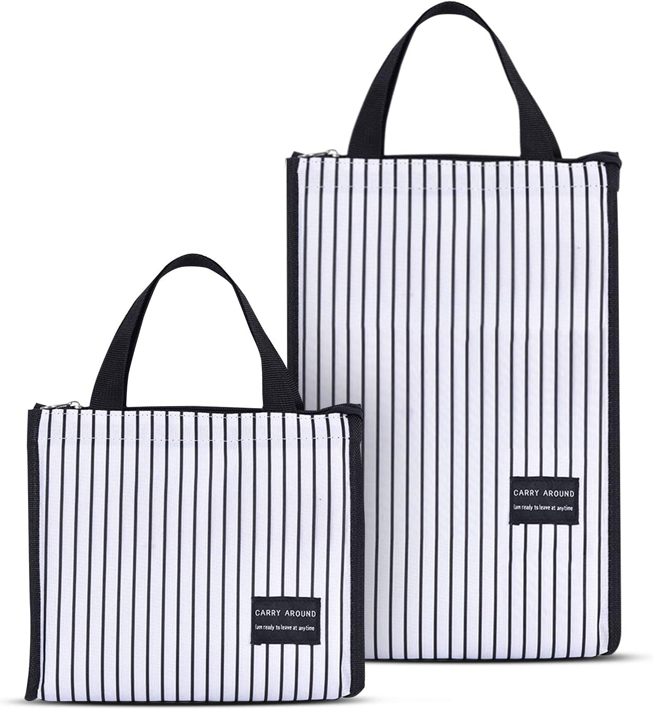 Pack of 2 Insulated Lunch Bag for Women Men, Stylish Lunch Tote Bag, Medium + Large Handbag with Zipper Lunch Box for Work, School, Shopping (Stripe)