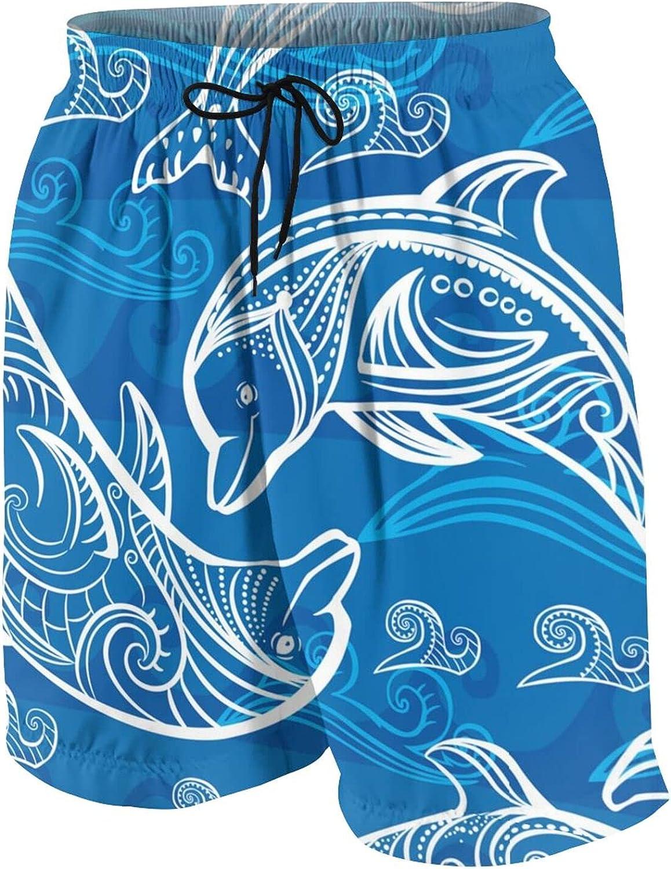 Magical Dolphin Teen Boys Quick Dry Surf Swim Trunk Novelty Youth Summer Beach Board Shorts