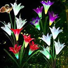 Solar Garden Lights Outdoor Decorations Garden Stake Lights. Multi-Color Auto-Changing LED Lily Flower Solar Powered Light...