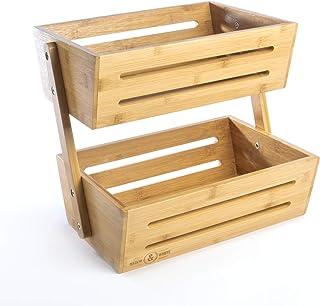 Panier de rangement en bambou à 2 niveaux   Étagère à fruits et légumes   Maison, cuisine, bureau   Set d'ustensiles et su...