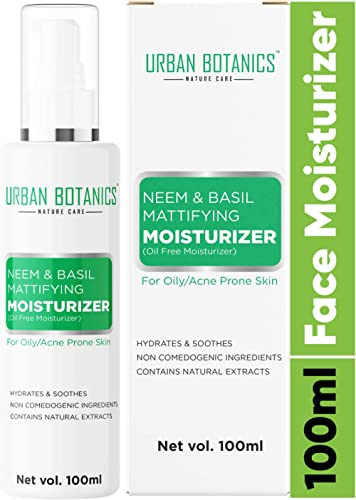 UrbanBotanics® Oil Free Moisturizer For Face - Mattifying Moisturiser Face Cream for Oily/Acne Prone/Normal Skin - wi...