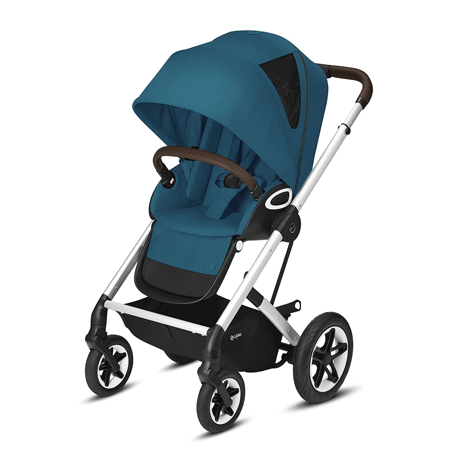 Cybex Talos S Lux Stroller, AllTerrain Wheels, FrontFacing or ParentFacing Seat Positions, OneHand Fold, Multiposition Recline, River Blue