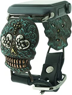Sugar Skull Patina Plated Day of The Dead Compatible for Apple Watch Leather Band (38/40mm)