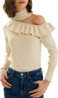 Miessial Women's Off Shoulder Sweater Pullover Cute Long Sleeve Slim Knit Jumper Tops