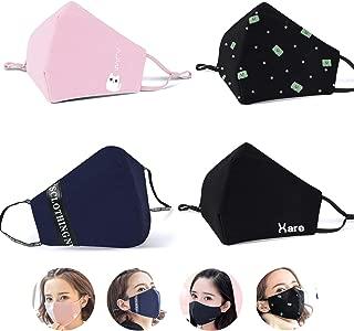 eKoi Cute Kawaii Reusable Washable Cotton Cloth Fabric Korean Kpop Fashion Half Face Mouth Mask for Anti Dust Pollution Pollen Allergy Filter Flu Sick Cough Cleaning (4PC Adjustable Earloop Design)