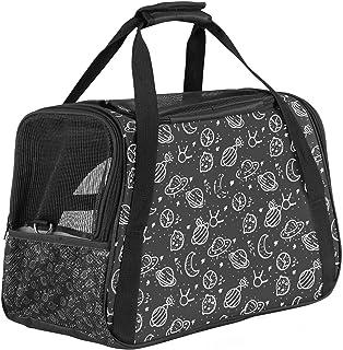 Bärbar resväska för husdjur, flyggodkänd duffelväskor för katt hund kanin med mjuk sida kosmos svart mönster tryck