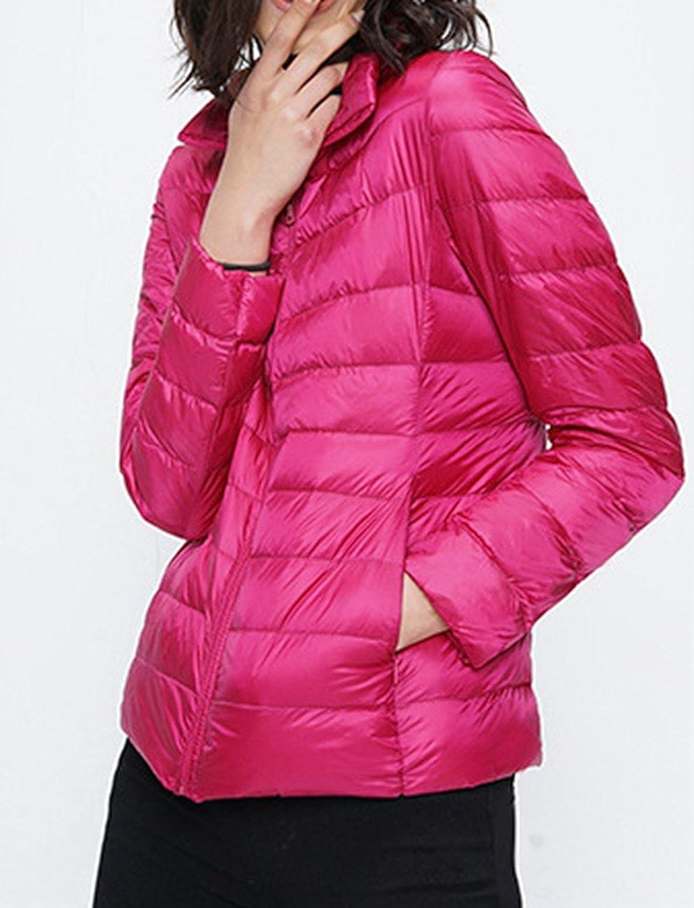 Memorose Womens Casual Winter Turtleneck Quilted Long Sleeve Zipper Coat Jacket Parka