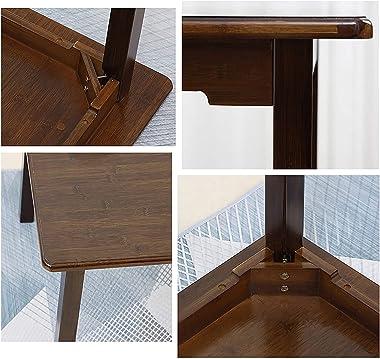ZBYY Table de salle à manger ronde carrée en bambou - Petite taille - Table de salle à manger en bois massif - Table d'ét