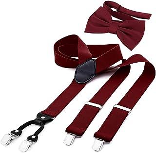 DonDon Tirantes para hombres ancho 3,5 cm en forma de Y, elásticos y ajustables en paquete de 2 con pajaritas adecuada 12 ...