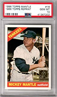1996 Topps Baseball 1966 Mickey Mantle Reprint Card # 16 PSA 10 Gem Mint