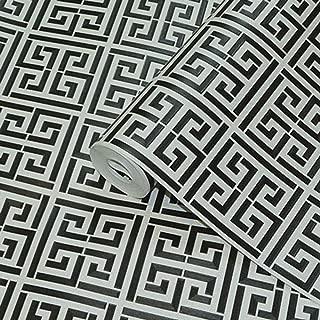 LNYJ Gold Greek Key Pattern White Wallpaper Modern Geometric Metallic Vinyl Wall Paper Roll Teal,Black,Silver,Rose Gold (Color : Black)