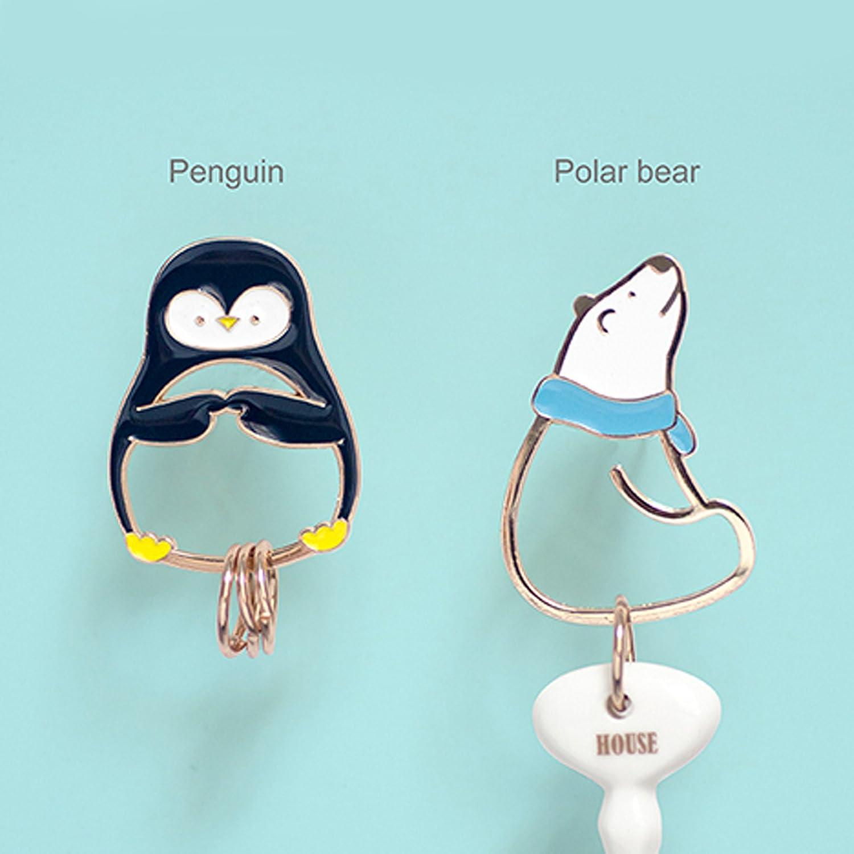 Cute Polar Bear/Penguin Keychain Key Chain Metal Design with Extra 3 Key Rings Animal Keyring Car Bag Accessory