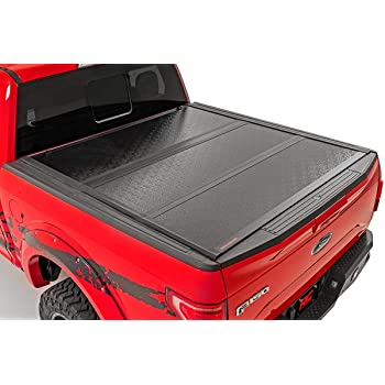 Amazon Com Rough Country Hard Tri Fold Fits 2015 2020 F150 5 5 Ft Bed Folding Truck Tonneau Cover 45515550 Rough Country Automotive