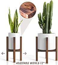 Mid Century Plant Stand – Adjustable Modern Indoor Plant Holder – Brown..