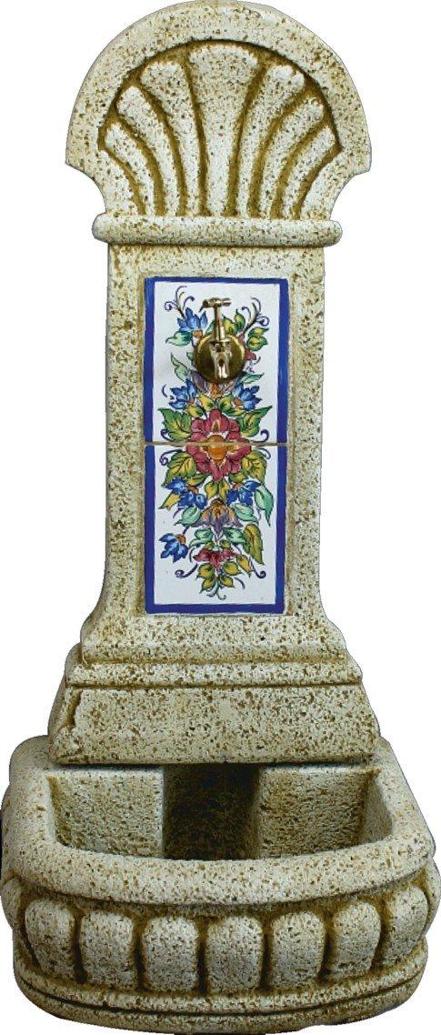 DEGARDEN AnaParra Fuente de Pared Azulejos para Jardín o Exterior de hormigón-Piedra Artificial | Fuente de Agua de hormigón-Piedra 44 x36 x98cm. | Fuente de Pilón Exterior con Grifo, Color Ocre: Amazon.es: