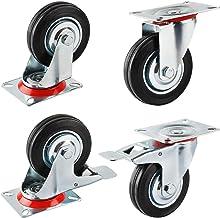 Forever Speed 4 x 75 mm transportwielen, industrieel, zware zwenkwielen, meubelwielen en zwenkwielen met rem, draagvermoge...