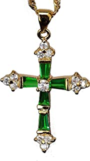 """RIZILIA Cross Pendant with 18"""" Chain & Trapezoid Cut CZ [5 Colors available] in Yellow Gold Plated, Simple Modern Elegant"""