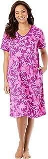 Dreams & Co. Women's Plus Size Short T-Shirt Lounger - M, Rich Magenta Butterfly