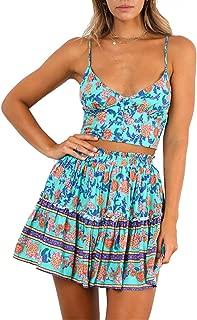 Women Summer Floral Short Dress V Neck Straps Sleeveless Crop Top with High Waist Ruffle Skirt Two Piece Outfit