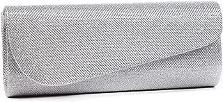 Damara Womens Oblique Flap Glitter Clutch Handbags