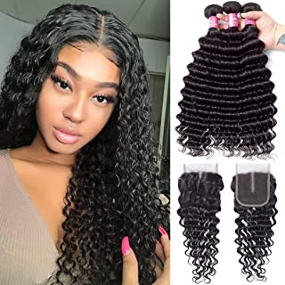 YUZHU Brazilian Deep Wave Bundles with Closure (12/14/16+10 Inch) Unprocessed 8A Grade Virgin Human Hair Deep Curly Hair with Middle Part Lace Closure Natural Color
