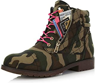 DailyShoes Women's Military Lace Up Buckle Combat Boots Ankle High Exclusive Credit Card Pocket, Hot Pink Lime